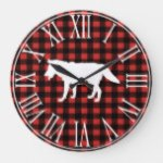 Rustic Buffalo Check Plaid & White Wolf Silhouette Large Clock