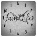 Rustic Farm Life Grey Burlap Texture Whimsical Square Wall Clock