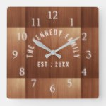 Rustic Wood Family Name Country Style Square Wall Clock