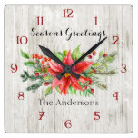 Watercolor Christmas Flowers on Rustic Wood Square Wall Clock