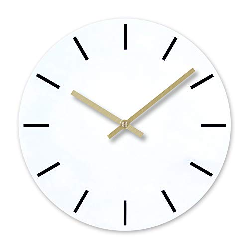 BB67 Clock Modern Fashion Acrylic Removable DIY Acrylic Wall Clocks Decorative Clock Round Home/Office/School Clock (F, White)