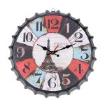 Wall Clocks – 35cm Round Metal Wall Clock Modern Retro Vintage Antique Look 3d Bottle Cap Design Mute Decoration – Rolex Unique Grandfather Bathroom Huge Potter Mirror Gray In Prime