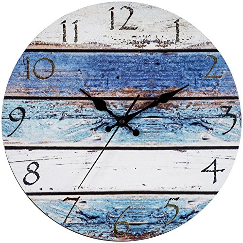 Bernhard Products Rustic Beach Wall Clock 12″ Round, Silent Non Ticking – Battery Operated, Fiberboard Wooden Look, Vintage Shabby Beachy Ocean Paint Boards Nautical Decorative Clock