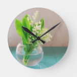 Lily of the valley in vase lily of the valley in vase round clock