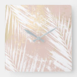 Modern White Palm Leaf & Pastel Pink And Gold Art Square Wall Clock