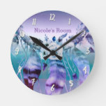 Purple & Teal Dream Catcher Boho Personalized Round Clock