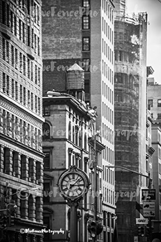 Flatiron Clock, Black and White Photography Photo Print Home Wall Decor New York City Living Room, Bedroom, Den, Classic, Sizes Available from 5×7 to 20×30.