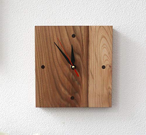 WoodenStuff Designer Wall Clocks Novelty Frame Wall Mounted Decorative Handmade Clocks Design Non -Ticking Silent Quiet Square Wooden Small Wood Clock for Home Living Room Bedroom Kitchen Decor