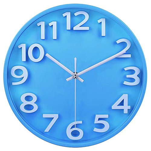 FlorLife 12 Inch Large Outdoor Wall Clock, Modern Round Wall Decorative Clock,Battery Operated Wall Watch Living Room/Kitchen/Bedroom/Classroom/Office – Blue