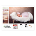 BABY STATS ICONS and PHOTO XMAS Birth Announcement Postcard