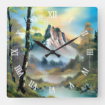 Beautiful Snowy Winter Mountains Oil Painting Art Square Wall Clock
