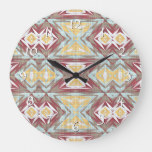 Brown Red Seafoam Yellow Ethnic Look Art Pattern Large Clock