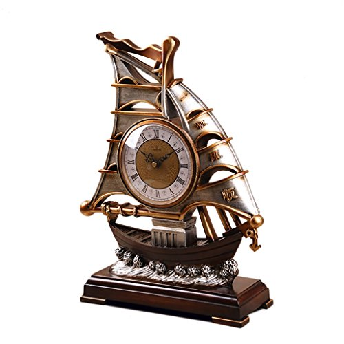 ZYANZ Retro Resin Mantel Clock, Silent Battery Powered Desk Shelf Clock Suitable for Living Room Bedroom (Color : Brown, Size : 16.5″/42x32cm)