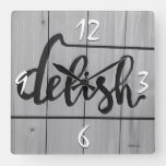 Delish Kitchen Graphics Photography Rustic Grey Square Wall Clock
