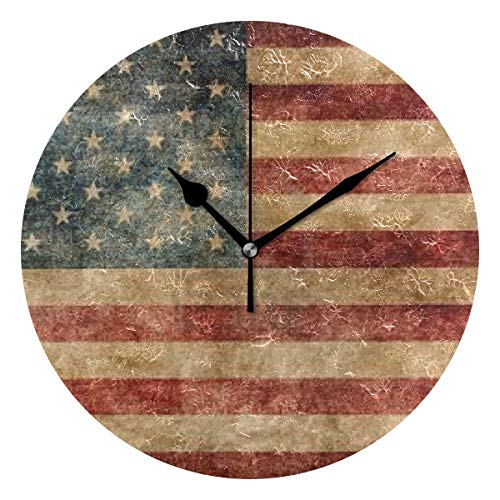 HangWang Wall Clock Old US Flag Silent Non Ticking Decorative Round Digital Clocks for Home/Office/School Clock