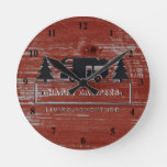 Happy Campers Rustic | Red Barn Wood RV Camping Round Clock