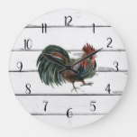 Rooster Painting Rustic Shiplap Farmhouse Decor Large Clock