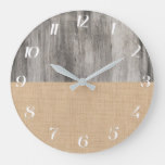 Rustic Country Gray Wood And Burlap Large Clock
