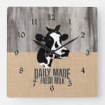 Rustic Country Wood and Burlap with a Cow Square Wall Clock