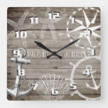 Rustic Nautical Life is Better on The Beach Square Wall Clock