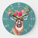 Trendy Floral Deer Antlers Illustration Large Clock