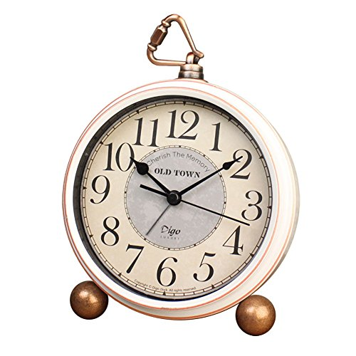 5.5″ Silent Desk Clocks Mantel Small Decorative,Vintage Quartz Analog Clock Non Ticking,Large Numerals Battery Operated (Best for Elder)