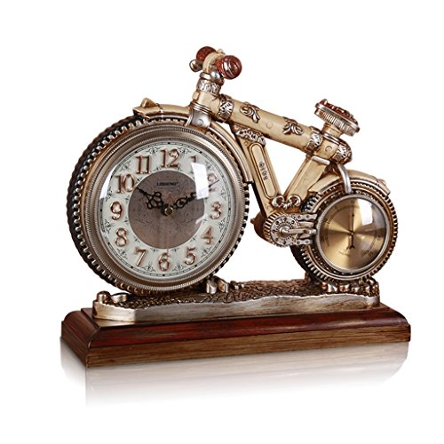 ZYANZ Resin Mute Mantel Clock, Bicycle Art Desk Shelf Clock (Color : Light Yellow, Size : 11.4″/29x25cm)