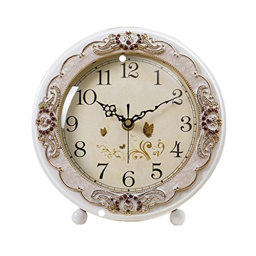 ZYANZ Non Ticking Table Clock Battery Operated, Analog Large Digital Desk Clock (Color : White, Size : 21.5x15cm)