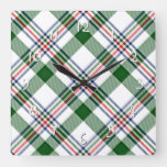 Green White Red Blue Cool Lumberjack Plaid Pattern Square Wall Clock