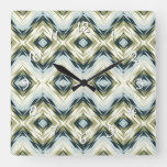 Pastel Blue Teal Olive Green White Ethnic Look Art Square Wall Clock