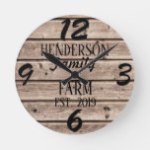 Rustic Farmhouse Country Wooden Wood Grain Custom Round Clock