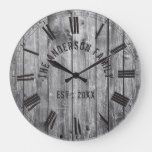 Rustic Grey Wood Custom Family Name Farmhouse Large Clock