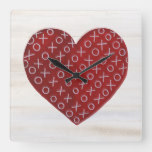Rustic Valentine | Hugs & Kisses Heart Square Wall Clock