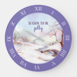 Snowy Bridge Watercolor Landscape Roman Numbers Large Clock