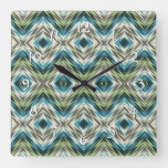 Teal Blue Lime Green Taupe Brown Ethnic Look Art Square Wall Clock