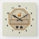 Wildlife Deer Square Wall Clock