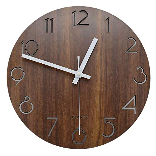 Wall Clocks – 12 Inch Vintage Arabic Numeral Design Rustic Country Tuscan Style Wooden Decorative Round Wall Clock – Owl Simple Giant That Dark Sale Operated Theme Miller Industrial