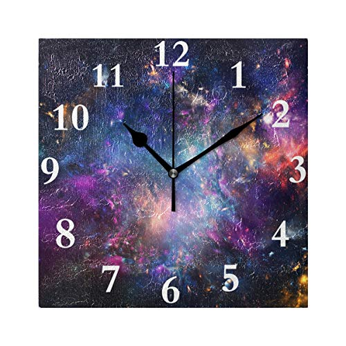 HangWang Wall Clock Beautiful Starry Sky Silent Non Ticking Decorative Square Digital Clocks for Home/Office/School Clock