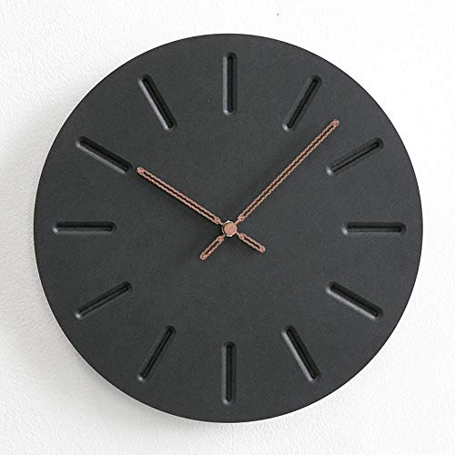 Chyoieya New Wall Clock MDF Wooden Modern Design Vintage Rustic Shabby Clock Quiet Art Watch Home Decoration Black V 12 inch