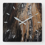 Burnt Tree Bark Texture Square Wall Clock