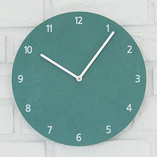 Chyoieya Modern Simple Creative Wooden Wall Clocks for Bedrooms Retro Rustic Decorative Home Mirror Clock On Wall Green 14 inch