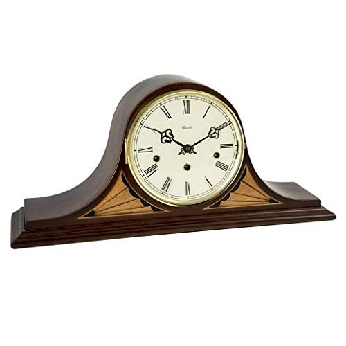 Qwirly Remington Mantel Clock #21162N91050 by Hermle – Antique Style Decorative Wood Clock for Living Room, Kitchen and Office with Chimes