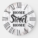 Shabby Chic White Wood Rustic Country Home Sweet Large Clock