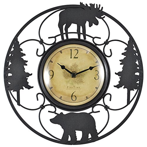 FirsTime 55586 Wildlife Wire Wall Clock, Brown/Black