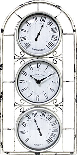 FirsTime 31042 Window Station Outdoor Wall Clock, Aged White