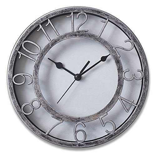 8″ Silver Silent Wall Clock Non-ticking Wall Clock Round Ready to Hang Decor Wall Clock With Plastic Bezel