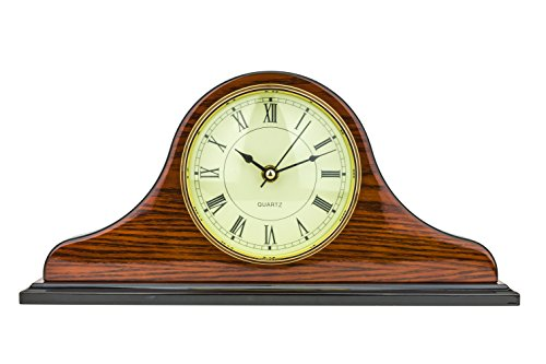 Mantel Clock 7.0″ H x 14.5″L x 3.5″ W Quartz, Decorative Shelf Clock, Fireplace Wood Antique Vintage Clocks, Battery Operated (Battery NOT INCLUDED)