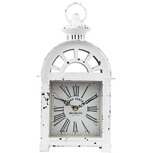 Lily's Home Vintage Inspired Lantern Grand Central New York City Train Station-Style Mantle Clock, Battery Powered with Quartz Movement, Fits with Victorian or Antique Décor Theme (13 3/4″ Tall)