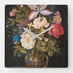 Balthasar Van Der Ast – Still-Life With Flowers. Square Wall Clock