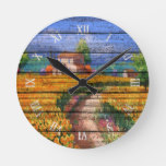 Colorful Summer La Provence France Landscape Round Clock